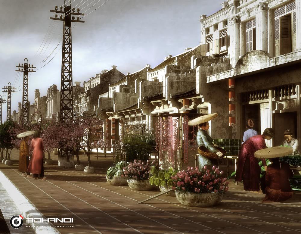 khu phố cổ đón tết